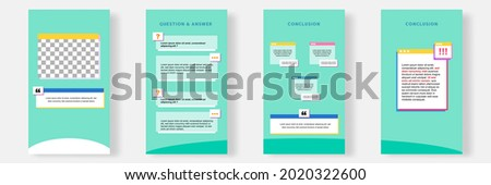 Social media faq, question, answer stories banner layout template with geometric shape background and bubble message design element in green white color. Vector illustration