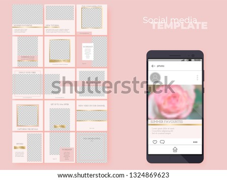 Social media feed editable template. Endless puzzle grid for business account. Vector layouts pack. Easy to insert your photo and text. Pink theme with golden accents.