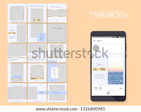 Social media feed editable template. endless puzzle grid for business profiles. Vector layouts set. Easy to insert your photo and text. Blue theme with golden accents.