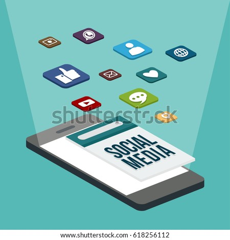 Social media flat 3d isometric concept vector icons. Social network concept. Desktop, chat, video, camera, phone, tablet. Flat web illustration infographics collection.