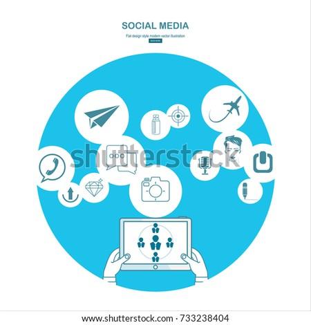 Social media. Flat design modern illustration concept.