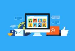 Social media. Flat design modern vector illustration concept.