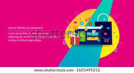 Social media for e-commerce, E-commerce marketing, Advertising on social media - conceptual vector banner with icons and texts