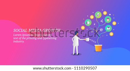 Social media growth - Business growth concept - Social media marketing - vector banner illustration with icons and texts #1110290507