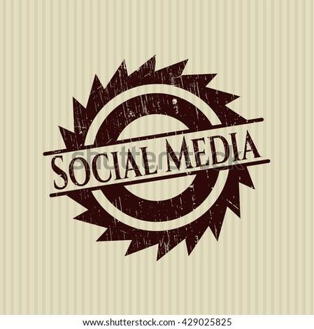 Social Media grunge style stamp