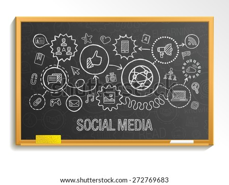 Social media hand draw integrate icons set on school board. Vector sketch infographic illustration. Connected doodle pictogram: internet, digital, marketing, media, network, global interactive concept