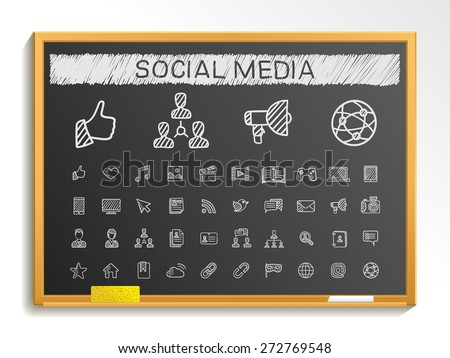 Social media hand drawing line icons. Vector doodle pictogram set: chalk sketch sign illustration on blackboard with hatch symbols: post, like, blog, forum, share, online, profile, relationship.