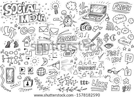 Social media hand drawn doodles