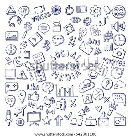 Social media hand drawn icons set. Computer and network doodle vector illustrations. Network media sketch icons, social media doodle