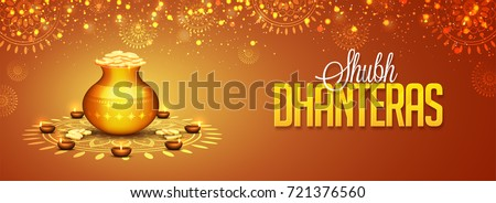 Social media Header decorated with Coin Pot on shiny floral background for Shubh Dhanteras festival.