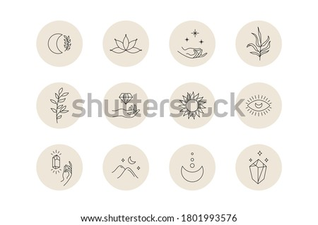 Social media highlight covers. Mystic boho set of minimal icons, simple bohemian hand drawn logo design. Vector illustration. Photo stock ©