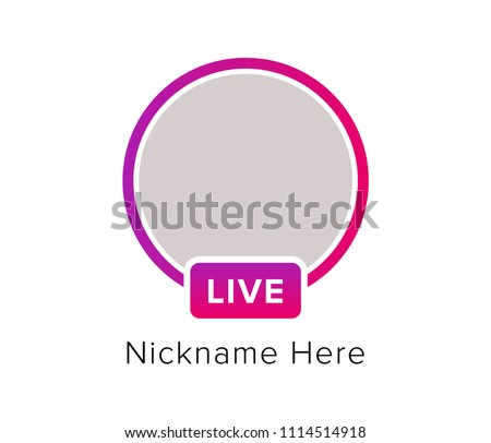 Social media icon avatar frame. Live stories user video streaming. Colorful gradient frame for photo. Vector illustration.