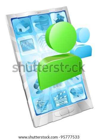 Social media icon coming out of phone screen concept
