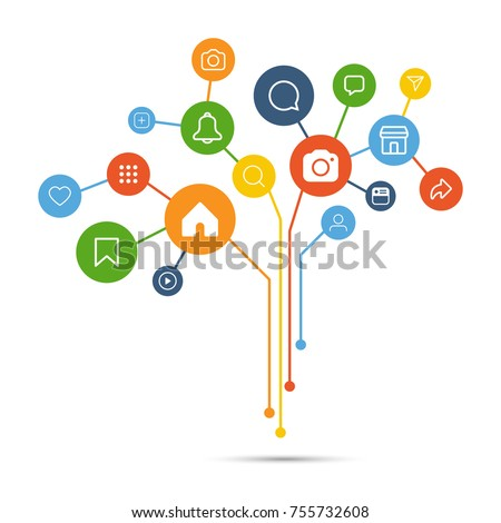 Social media icon connection concept, vector illustration