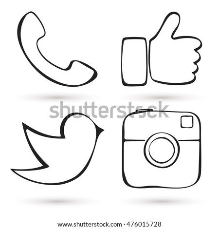 Social media icon set. Hand drawn design. Like hand symbol, digital camera, messenger bird. Vector illustration.
