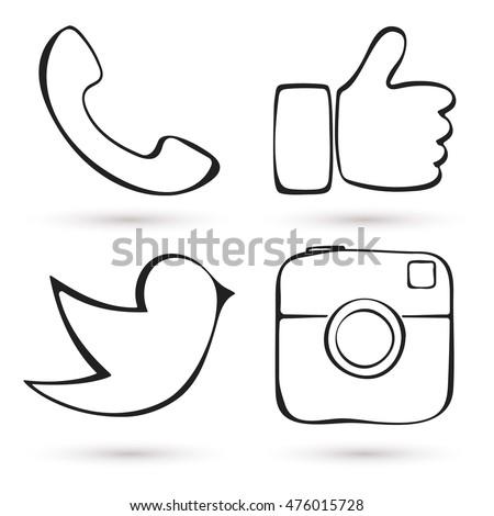 Social media icon set. Hand drawn design. Like hand symbol, digital camera, messenger bird. Vector illustration.