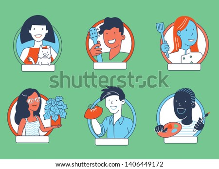 Social media icon set of young millennial men and women in work outfits and holding hobby objects. Can be used for dating and social media apps, education, entertainment, personality quiz, people