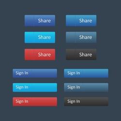 Social media icon set. Share and Sign in buttons. Mockups can be use for website. Vector illustartion