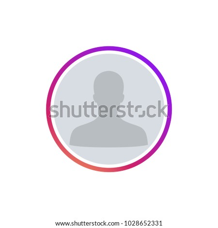 Social media icon user. Insta round frame for avatar with user shadow. Instagram stories user image colorful gradient. Instagram user button, ui, app, web, symbol, sign. Vector illustration. EPS 10.