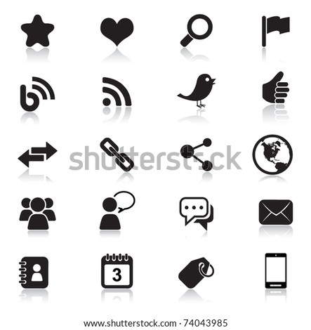 Social Media icons | Black - stock vector