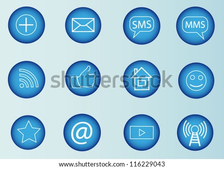 Social media icons blue set