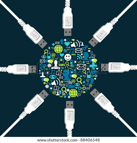 Social media icons collection in circle shape surrounded by USB wires.