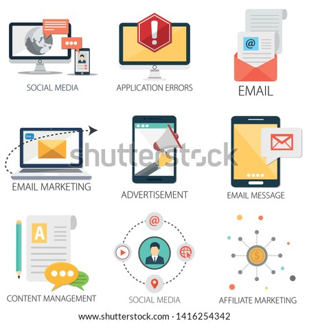 Social Media Icons, Content Management, Email Marketing, Social News icon, Email and Message Icons, Media & Advertisement Icons