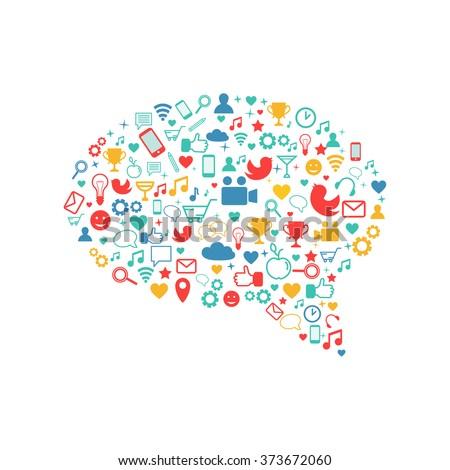 Social media icons forming a text bubble shape. Social network, internet, application development concept. Vector illustration.