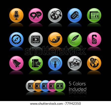 Social Media Icons// Gelcolor Series -------It includes 5 color versions for each icon in different layers --------- - stock vector