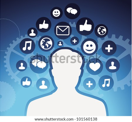social media icons - male silhouette - vector concept