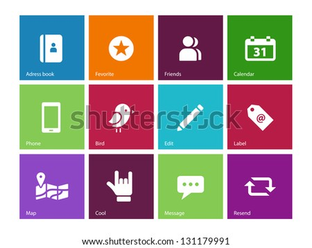 Social Media icons on color background. Vector illustration.