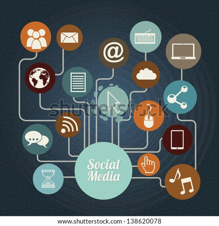 Social media icons over blue background vector illustration