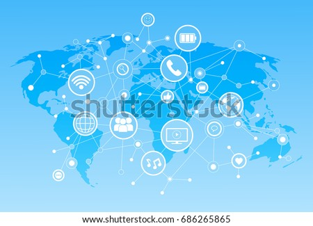Social Media Icons Over World Map Background Network Communication Connection Concept Vector Illustration