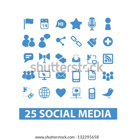 social media icons set - blue version, vector