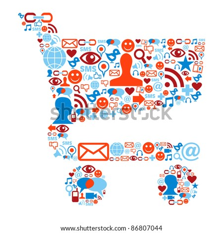 Social media icons set in shopping cart shape composition - stock vector