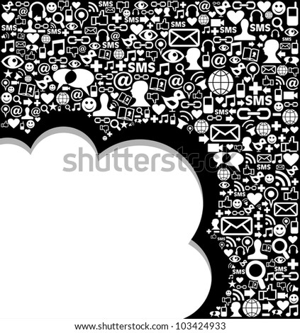 Social media icons set in wave shape layout. Vector file layered for easy manipulation and custom coloring.