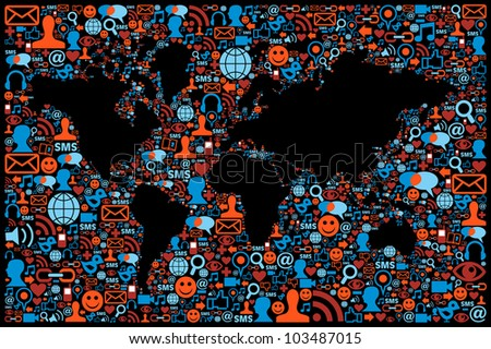 Social media icons set in World map layout. Vector file layered for easy manipulation and custom coloring.