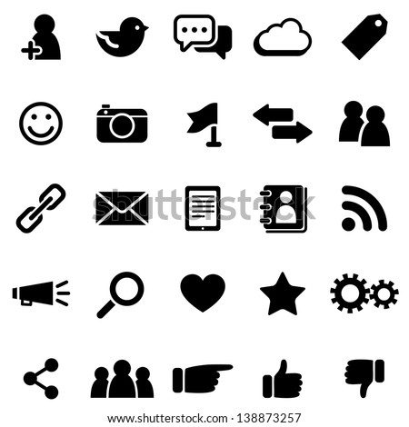 Social Media Icons  - Set of social media icons isolated on a white background.  Eps8.