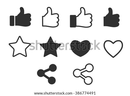 Social media icons set, share, like, follow, thumbs up, star, heart vector icon collection isolated on white background. black and white version
