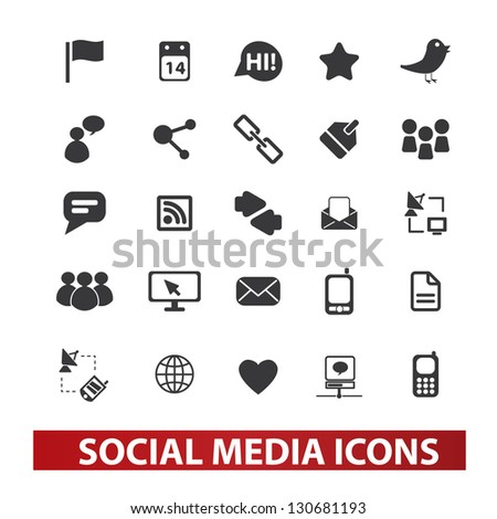 social media icons set, vector