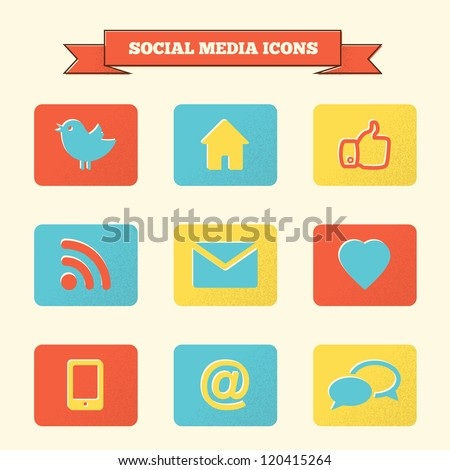 Social media icons set. Vintage styled vector icons.