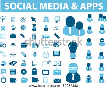 social media icons, signs, vector illustration