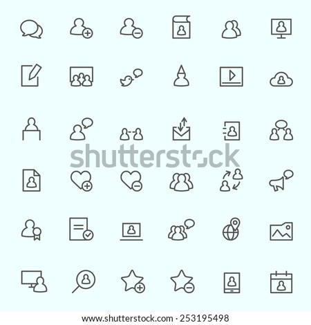 Social media icons, simple and thin line design