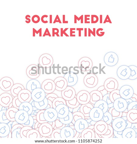 Social media icons. Social media marketing concept. Falling scattered thumbs up hearts. Scatter bottom gradient elements on white background.