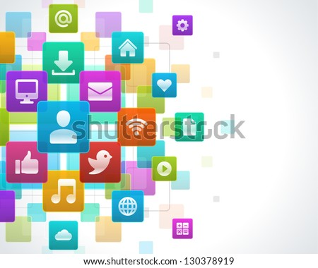 Social media icons vector background