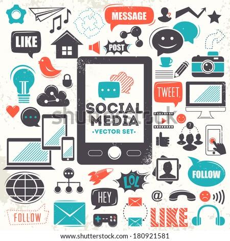 Social media icons. Vector set