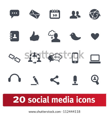 Social media icons. Vector set for web and devices. - stock vector