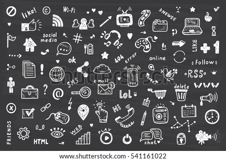 Social Media Icons Vector Set. Hand Drawn Doodle Web Site Signs and Symbols