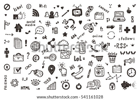 Social Media Icons Vector Set. Hand Drawn Doodle Web Site Signs and Symbols  #541161028