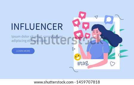 Social media  influencer at work.  Flat  vector illustration isolated on white background.